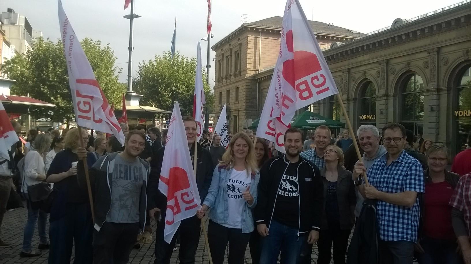 Demo für Solidarität mit Flüchtlingen in Mainz